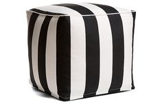 $65; One Kings Lane; need a couple more when I have a chance; Cabana Stripe Outdoor Pouf, Black/White; July 2017