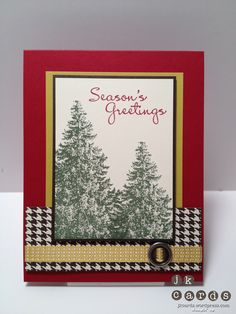 A striking Christmas card featuring Christmas Lodge, More Merry Messages, & Festival of Prints dsp.