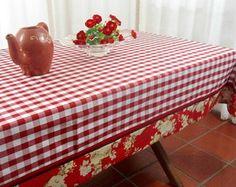Toalha de Mesa Artesanal Xadrez V Floral