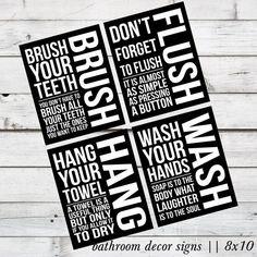 INSTANT DOWNLOAD - Brush, Flush, Hang, and Wash Bathroom Decor DIY Printable Signs via Etsy