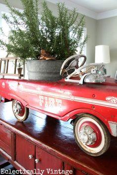 Vintage Fire Truck Pedal Car Christmas Decoration - how fun! #Christmas #Vintage