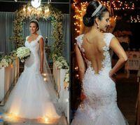 Romântico 2014 Custom Made Backless querida Lace Vestido De Noiva sereia Tulle Vestido De Noiva vestidos De Noiva da moda