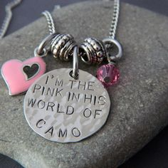 for Nina's pink board . I'm The Pink in HIs World of Camo Hand Stamped Necklace, Stamped Jewelry, Metal Jewelry, Just In Case, Just For You, Everything Pink, Pink Camo, Metal Stamping, My Favorite Color