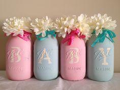Baby Celebration Nursery Shower Announcement Centerpiece Pink Blue Stenciled Pastel Mason Jars Vases (Set of by MulberryMadeCrafts on Etsy Mason Jar Vases, Painted Mason Jars, Baby Decor, Baby Shower Decorations, Baby Blessing, Baby Boy Or Girl, Handmade Crafts, Pink Blue, Wedding Gifts
