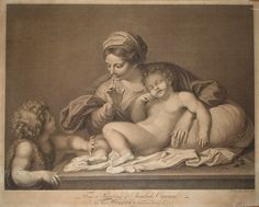 Virgin with sleeping child and infant John -  1768. Francesco Bartolozzi after Carracci.
