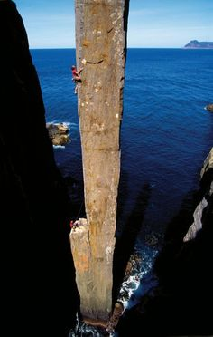 The Totem Pole as seen from the front. The Totem Pole is a 65 metres (213 ft) sea stack on the island of Tasmania, Australia. It is one of the most distinctive rock climbing routes in the world, with hundreds of climbers attempting to climb it every year.