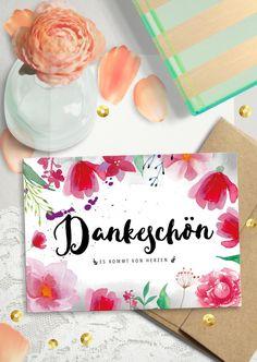 "Blumige Postkarte ""Danke"", wunderschön illustriert / beautiful illustrated postcard ""thank you"" by The bird who told via DaWanda.com"