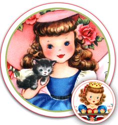 Most Darling Vintage Little Girls Graphics Round Gift Tags set 12 FREE Shipping $4.50