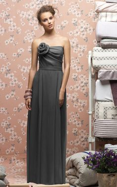 Wedding Apparel, Bridesmaid Dresses, Silver Strapless Zipper Sheath FLoor-length Dresses