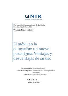 Universidad Internacional de La RiojaFacultad de EducaciónTrabajo fin de másterEl móvil en laeducación...