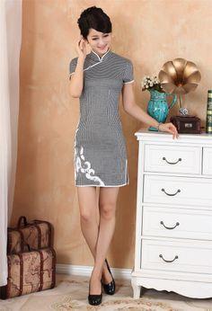 Improved Chinese Women's Cotton Mini Dress Cheongsam Qipao