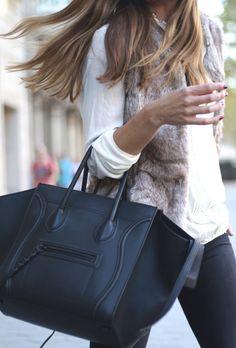 City Fashion & Style ❤ faux fur vest + celine