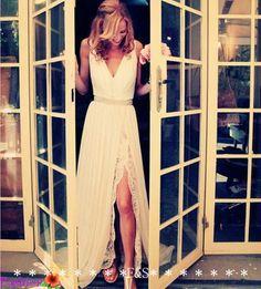 Blush Wedding Dress Sexy Vintage Lace Chiffon by FashionStreets, $379.00