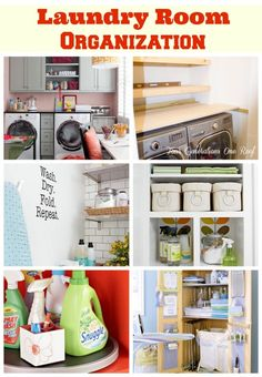 Laundry room makeover + diy shelves + laundry room organization with BHG via Four Generations