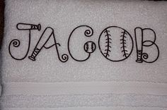 Baseball themed monogram. I MUST HAVE ONE OF THESE!!