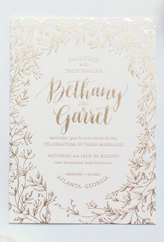 Gold Foil Jasmine Leaf Wedding Invitation. While there's no mething classic with just a hint of edge. It's no surprise that pretty metallic accents have found their way into the world of bridal stationery. Brides have been clamoring for gilded details in all aspects of their big day, from metallic wedding cakes to chic gold wedding dresses.