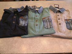 Tricot polo met zakje van PME en jeans effect in grijs groen en donker blauw € 69.95