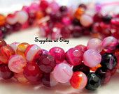 Fuchsia,Pinks Round Faceted Agate Stone 4mm Approx-Strand round shape Fire agate gemstone-Green Dainty round stone-diy Jewelry findings