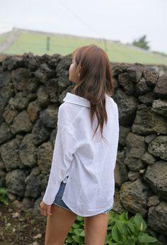 High-Low Hem Button-Down Shirt (Ivory)   STYLENANDA