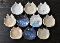 Set of 10 small plates of cats! Ceramic Clay, Ceramic Pottery, Pottery Art, Clay Art Projects, Ceramics Projects, Cute Clay, Polymer Clay Crafts, Polymer Clay Ring, Paperclay
