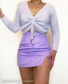 Purple Outfits, Girly Outfits, Cute Casual Outfits, Cute Skirt Outfits, Cute Skirts, Mini Skirts, Kinds Of Clothes, 2 Piece Outfits, Alternative Fashion
