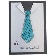 Kravatti on toteutettu ääriviivatarrojen avulla. Ääriviivatarroista löydät myös ristit rippikortteihin. Tarvikkeet ja ideat Sinellistä!