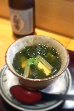wakame and bamboo shoot soup