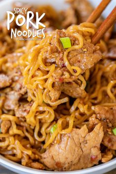 Spicy Pork Noodles - ready to eat in 10 minutes! Only 5 ingredients! Great way to use up leftover pork tenderloin. Pork tenderloin, brown sugar, soy sauce, chili garlic sauce, ramen noodles and green onions for garnish. Can add green beans or asparagus. Ramen Recipes, Spicy Recipes, Cooking Recipes, Pork Stirfry Recipes, Ramin Noodle Recipes, Easy Noodle Recipes, Pork And Rice Recipes, Pork Casserole Recipes, Beef Recipes