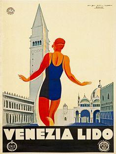Art Italy Travel Poster Venezia Lido Print Vintage by Blivingstons