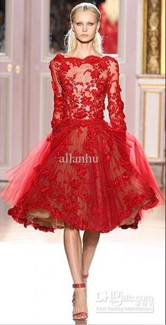 Wholesale 2013 Stunning Evening Dresses Red Lace Tulle Zuhair Murad Long Sleeves Prom Dress ZH019, Free shipping, $162.4-168.0/Piece | DHgate