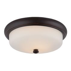 Dylan Mahogany Bronze LED Flush Mount With Etched Opal Glass Nuvo Lighting Flush Mount Flu