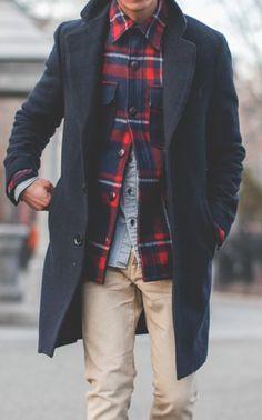 Blue vest, blue coat and camel jeans #men #outfit