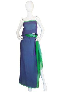1970s Layered Silk Chiffon Pauline Trigere Dress Set