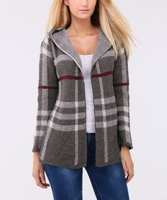 Another great find on #zulily! Fortissimo Taupe & Red Plaid Sweet Pull Open Cardigan by Fortissimo #zulilyfinds