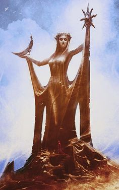 A Goddess, born of the earth, holding the Sun & Moon. Great responsibility!