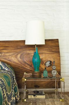 Wooden Headboard and Green Copper Lamps