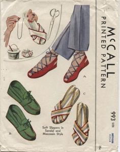 Vintage McCall WWII Slippers, Sandals & Moccasin Pattern X 2 #993 from 1942 -   eBay