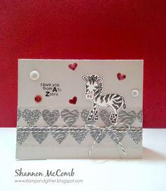 Stamp & Glitter: Zebra Valentine featuring Newton's Nook Designs stamps - Wild about Zoo Stamp set