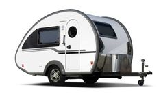 nüCamp TAB S travel trailer exterior Airstream Trailers For Sale, Small Camper Trailers, Small Camping Trailer, Small Trailer, Small Campers, Vintage Campers Trailers, Vintage Airstream, Rv Campers, Lightweight Camping Trailers