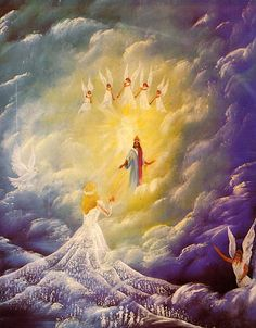 The Bride of Christ - is His Church on earth now. Cristo viene a buscar a su novia. Braut Christi, Image Jesus, Religion, Saint Esprit, Bride Of Christ, Jesus Is Coming, Prophetic Art, Biblical Art, Jesus Pictures
