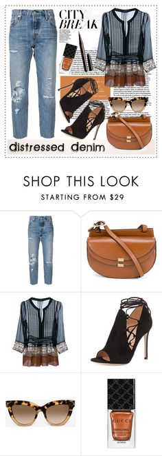 """""""A City Break"""" by alaria ❤ liked on Polyvore featuring Levi's, Chloé, Alberta Ferretti, Gianvito Rossi, Valentino, Gucci, Marc Jacobs, women's clothing, women and female"""