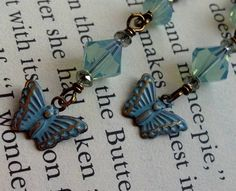 Blue Patina Butterfly Pacific Opal Crystal Vintaj Brass Earrings | ShimmerShimmer - Jewelry on ArtFire SALE WAS $22 NOW $16 Free U.S. shipping and free gift box included.