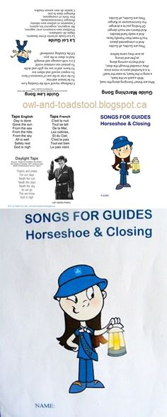 Songs for Guides...Horseshoe and Closing...card style booklet http://owl-and-toadstool.blogspot.ca/2012/03/guides-world-guiding-badge.html