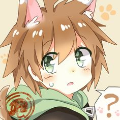 Makoto Naegi (Danganronpa) with animal ears.
