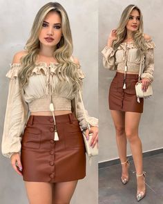 Beige blouse and brown leather mini skirt Curvy Outfits, Sexy Outfits, Plus Size Outfits, Casual Outfits, Red Leather Mini Skirt, Mode Rockabilly, Look Fashion, Womens Fashion, Skirt Outfits