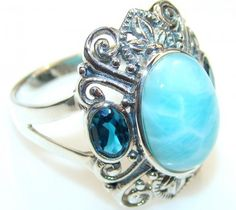 Sweet Blue Larimar Sterling Silver Ring s. 8 1/2