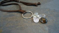 leather and semiprecious stones necklace by IseaDesigns on Etsy