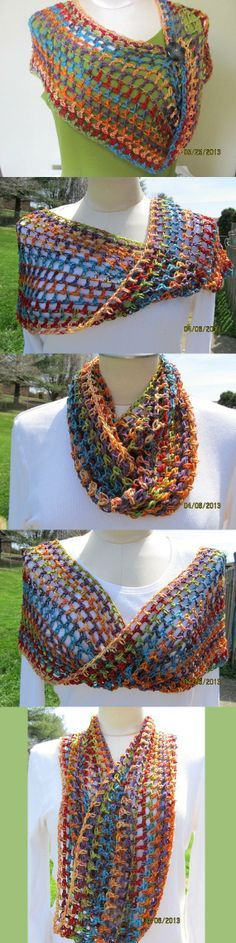 Infinity style multicolor handmade crochet wrap