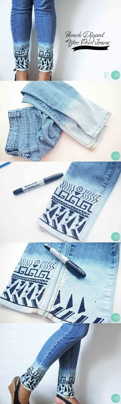 Bleached Aztec Style Jeans