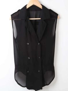 Black Lapel Sleeveless Double Breasted Chiffon Shirt... really cute.